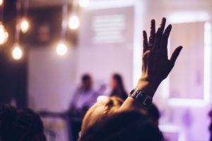raised hand at event